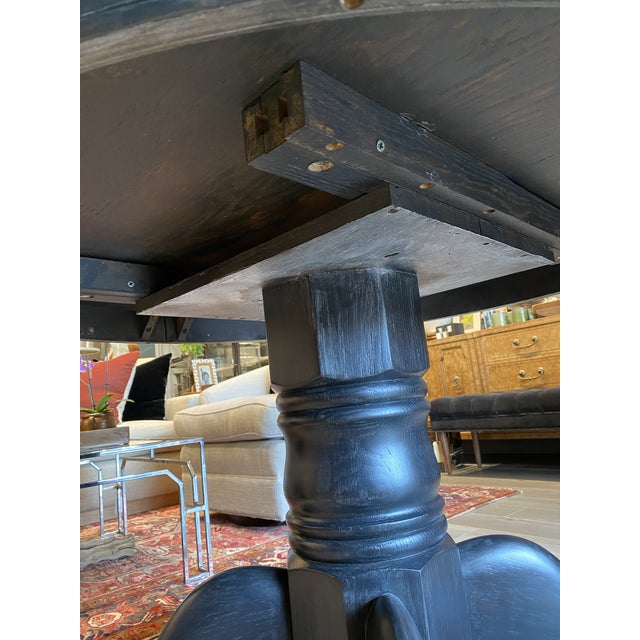 Black Antique Black Round Oak Claw Foot Dining Table For Sale - Image 8 of 12