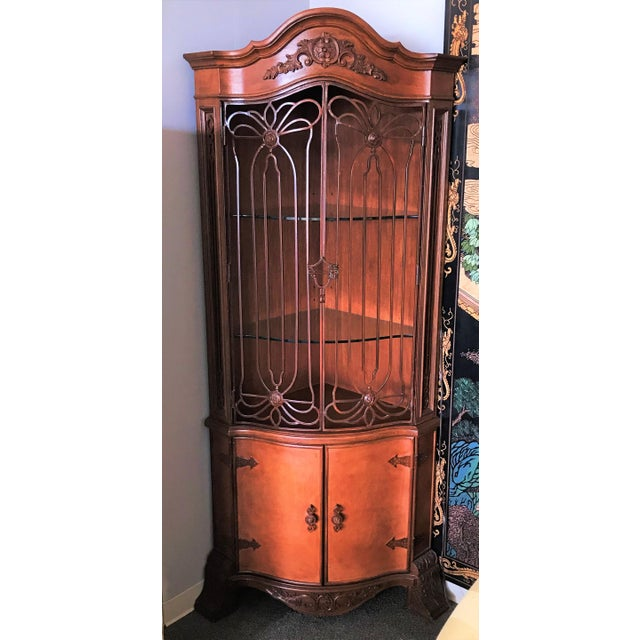 Late 20th Century Corner Cabinet With Iron Doors For Sale - Image 9 of 13