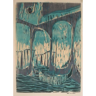 Abstracted Seascape With Boats 1960-70s Blue Serigraph For Sale