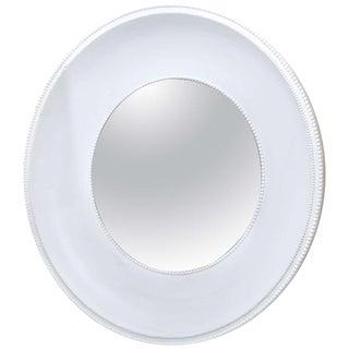 Very Impressive Custom-Made Round White Plaster Mirror For Sale