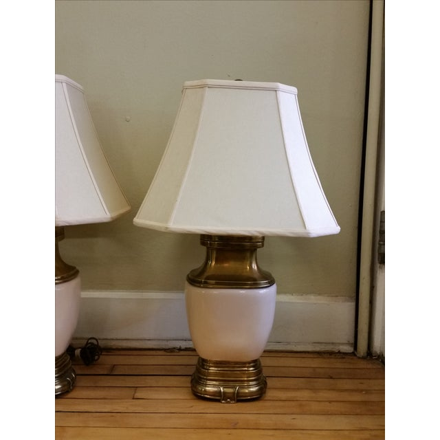 Chapman Ceramic and Brass Hollywood Regency Lamps - Pair - Image 4 of 9