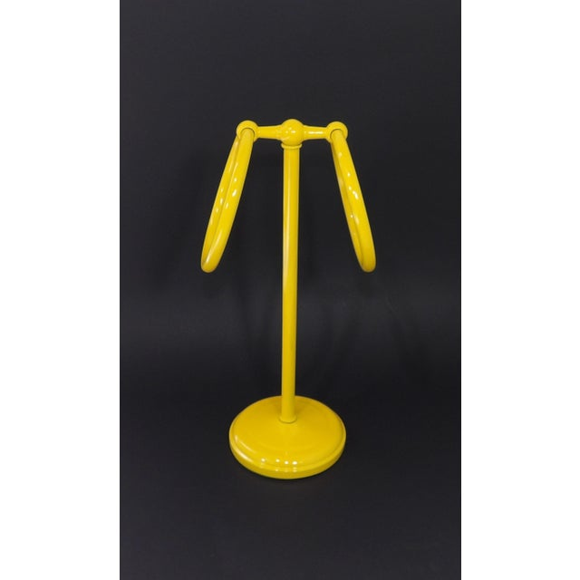 Early 21st Century Mid-Century Modern Yellow Bathroom Hand Towel Holder Rack For Sale - Image 5 of 9