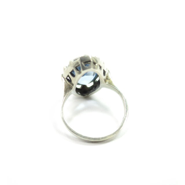 Blue Edwardian 835 Silver & Blue Topaz Ring,1910 For Sale - Image 8 of 12