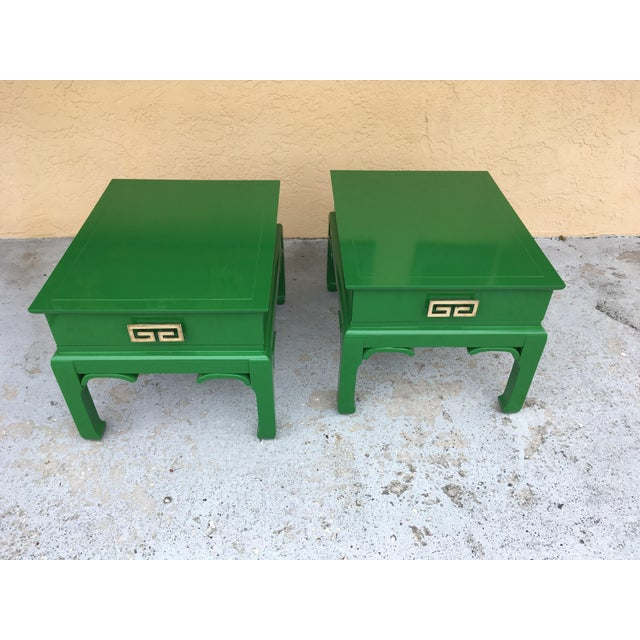 Asian 1960s Asian High Gloss Green Side Tables - a Pair For Sale - Image 3 of 8