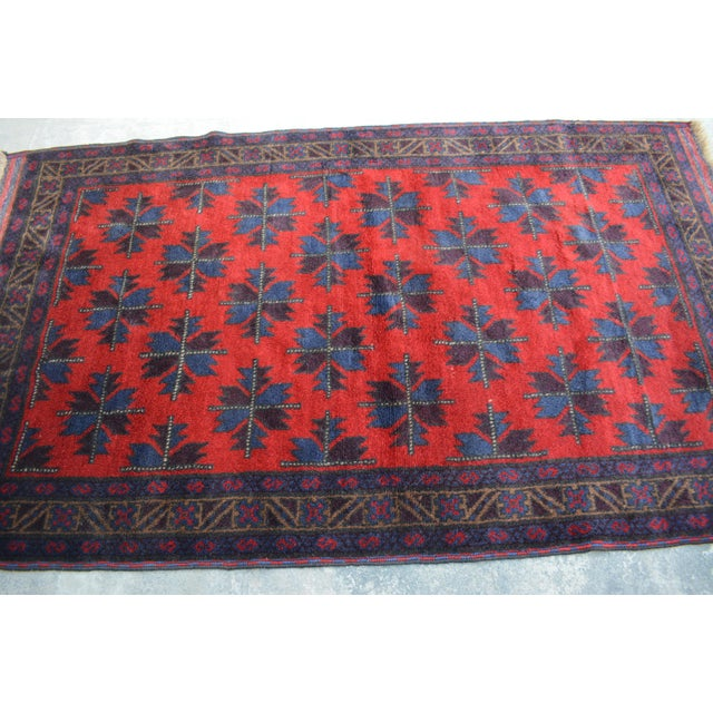 1980s Vintage Afghan Hand Knotted Rug - 4′1″ × 6′10″ For Sale - Image 5 of 6