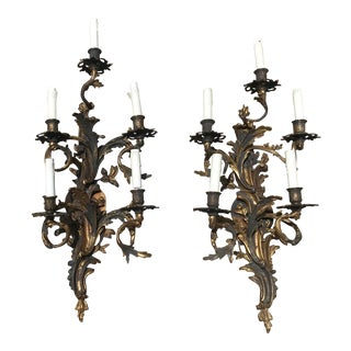 19th Century French Louis XV Style Five-Arm Wall Sconces - a Pair For Sale