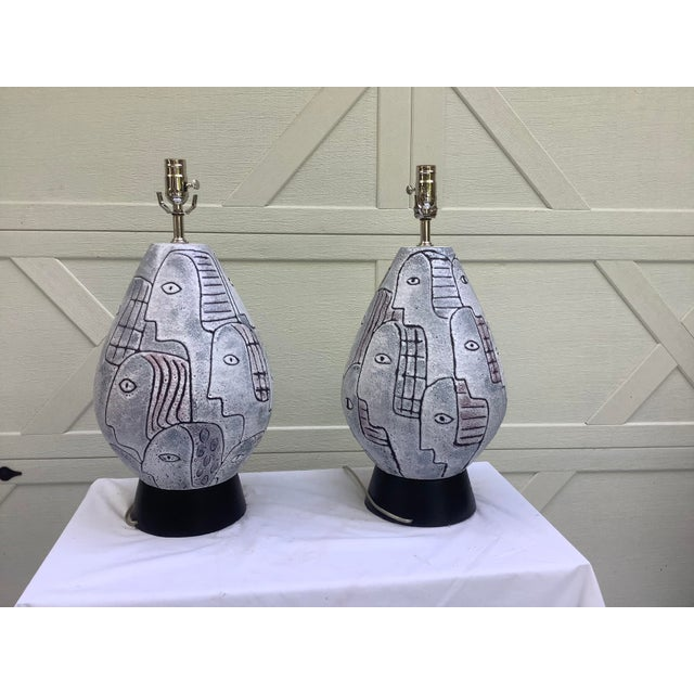 White Bitossi Midcentury Modern Large Scale Lamps, a Pair For Sale - Image 8 of 11