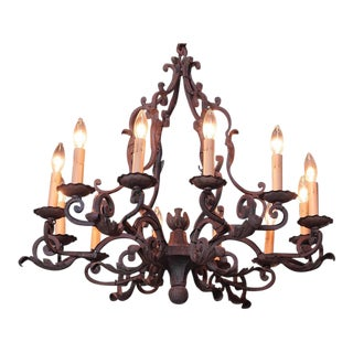 Early 20th Century French Ten-Light Iron Verdigris Chandelier With Centre Finial