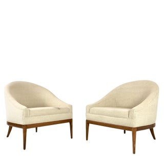 Pair of Curved Back Slipper Chairs For Sale