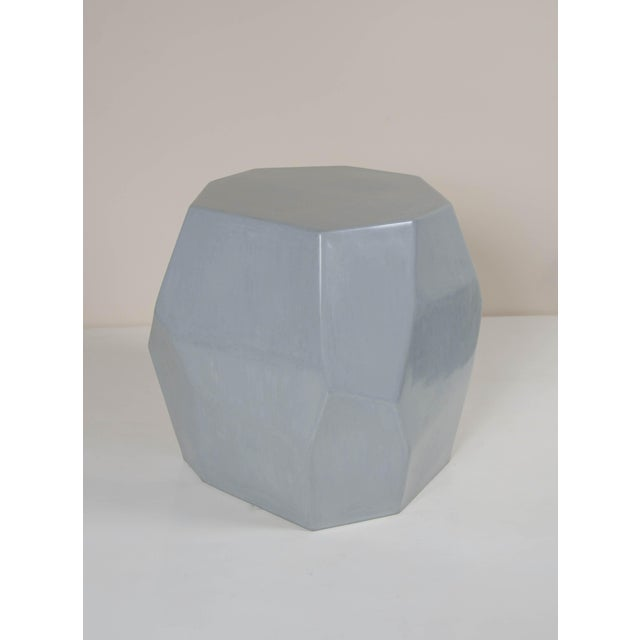 Contemporary Faceted Drumstool - Grey Lacquer For Sale - Image 3 of 4