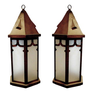One Pair of English Bronze and Frosted Glass Hanging Lanterns, Electrified