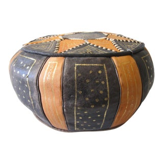 Vintage Leather Moroccan Pouf