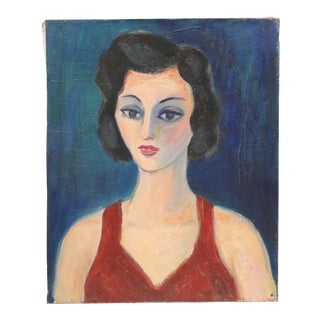 Mid-Century Oil Painting of French Woman
