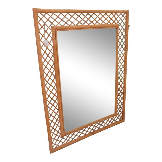 Wrapped Bamboo Wall Mirror - Image 1 of 5