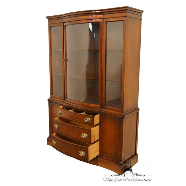 Mahogany 20th Century Traditional Bassett Furniture Old Shirley Collection Bow Front China Display Cabinet For Sale - Image 7 of 13