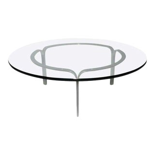 """1960s Nicos Zographos """"Ribbon"""" Steel Coffee Table For Sale"""
