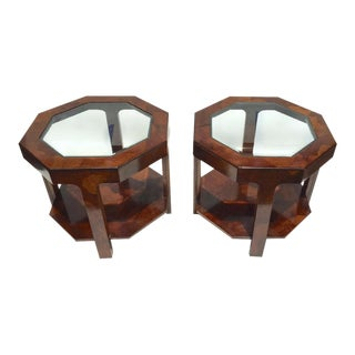 Mid-Century Tortoiseshell Burl Wood End Tables - A Pair