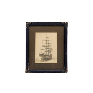 Old Framed Photograph of a Sailing Ship For Sale