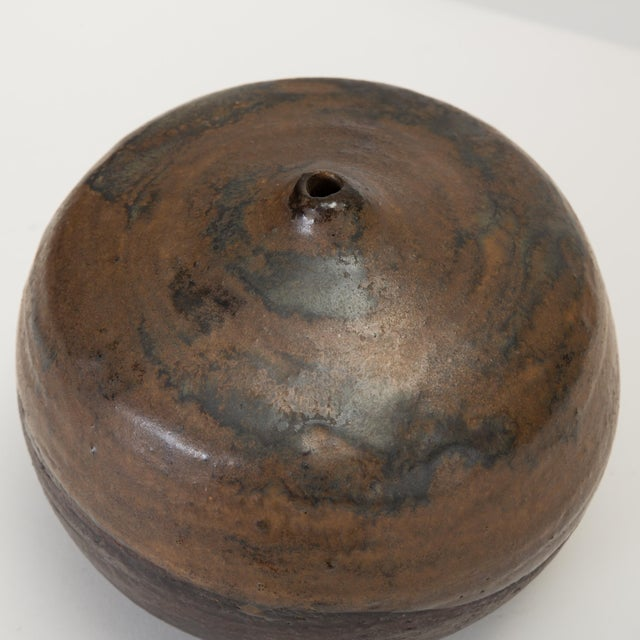 Brown and Black Glazed Studio Pottery Weed Pot by Sakamoto For Sale - Image 9 of 11