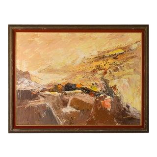 "1960s ""Cliffside"" Modernist Abstract Landscape Oil Painting, Framed For Sale"