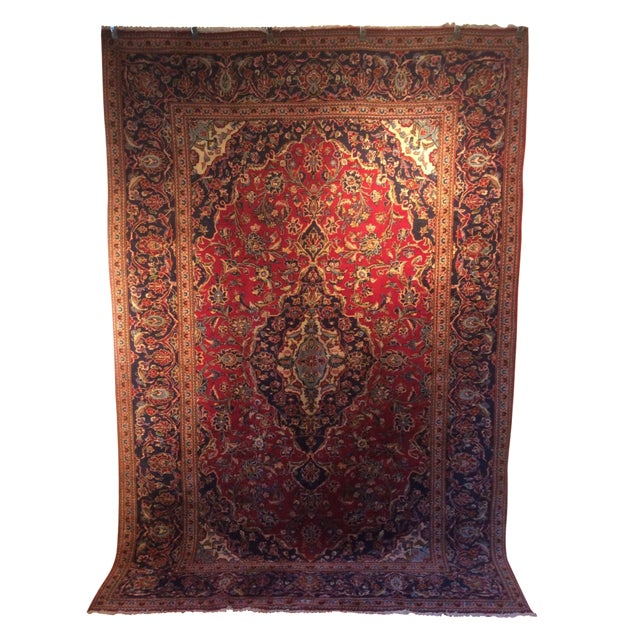 Vintage Oriental Kashan Hand Made Rug - 6′6″ × 9′8″ - Image 1 of 7
