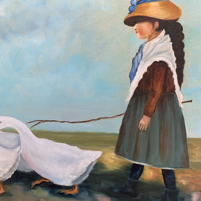"""Vintage """"Girl Herding Geese"""" Signed Oil on Canvas Framed Painting For Sale - Image 4 of 7"""