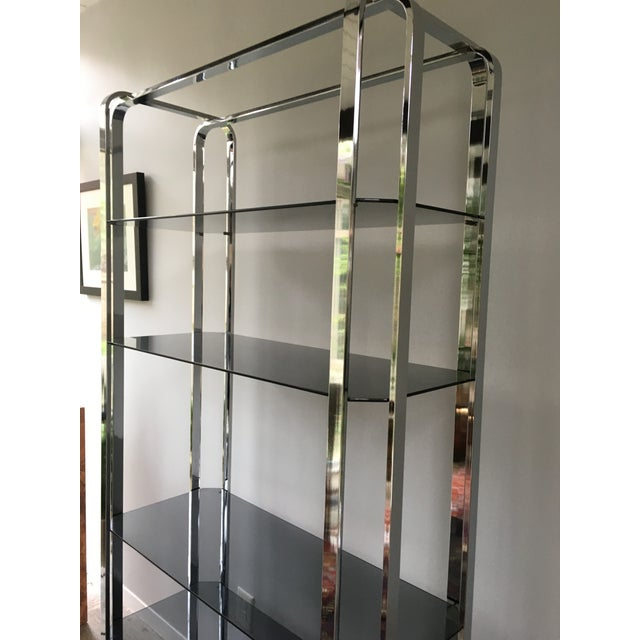 Silver Milo Baughman Chrome and Smoked Glass Etagere For Sale - Image 8 of 9