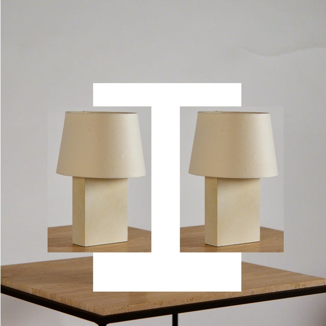 Wood Bloc' Parchment Table Lamp by Design Frères - a Pair For Sale - Image 7 of 7