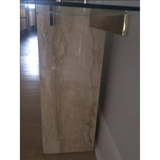 Mid-Century Modern Travertine Console Table & Glass Top - Image 10 of 11