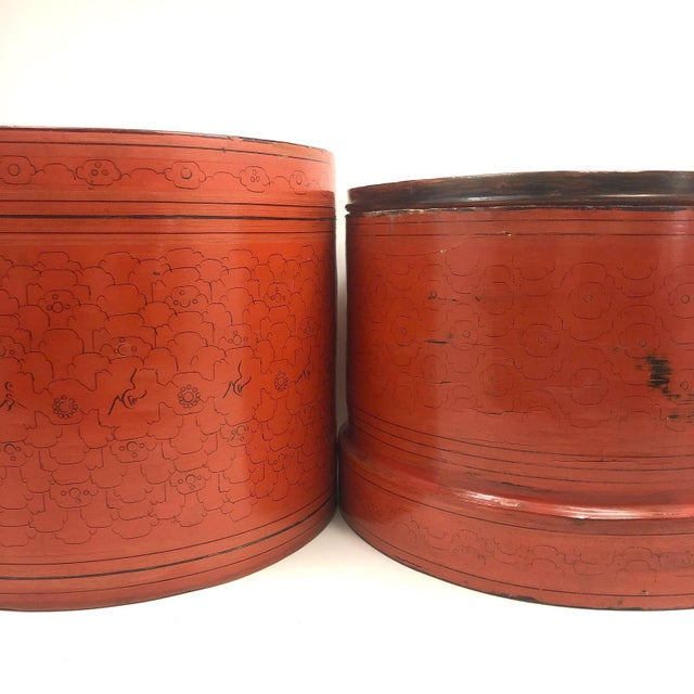Burnt Orange Large Antique Burmese Kun-It Lacquer Betel Box, 10 Inches Tall and Wide For Sale - Image 8 of 13