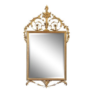 English Neoclassical Beveled Mirror With Gilt Frame For Sale