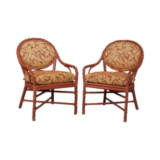 McGuire of San Francisco Pair Painted Twist Rattan Armchairs (A) For Sale