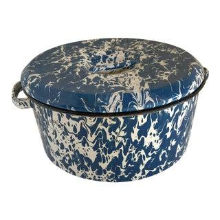 Splatter Ware Enamel Lidded Pot For Sale