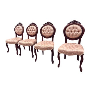 Vintage Tufted Pink Silk Upholstery French Dining Chairs - Set of 4 For Sale