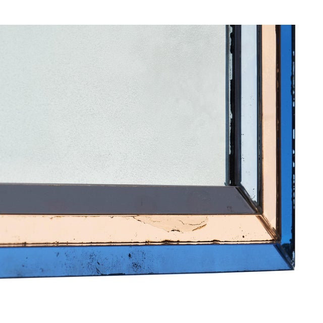 Glass French Vintage Blue and Pink Mirror For Sale - Image 7 of 10