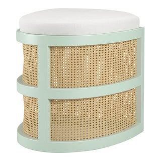 Isabella Demi Stool - Turquoise Mist, Optic White Linen For Sale