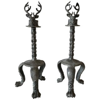 Pair of Pewter Stag Candlesticks For Sale