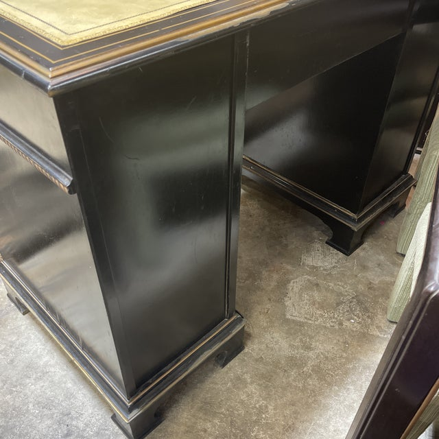 Leather Chinoiserie Leather Too Writing Desk For Sale - Image 7 of 13