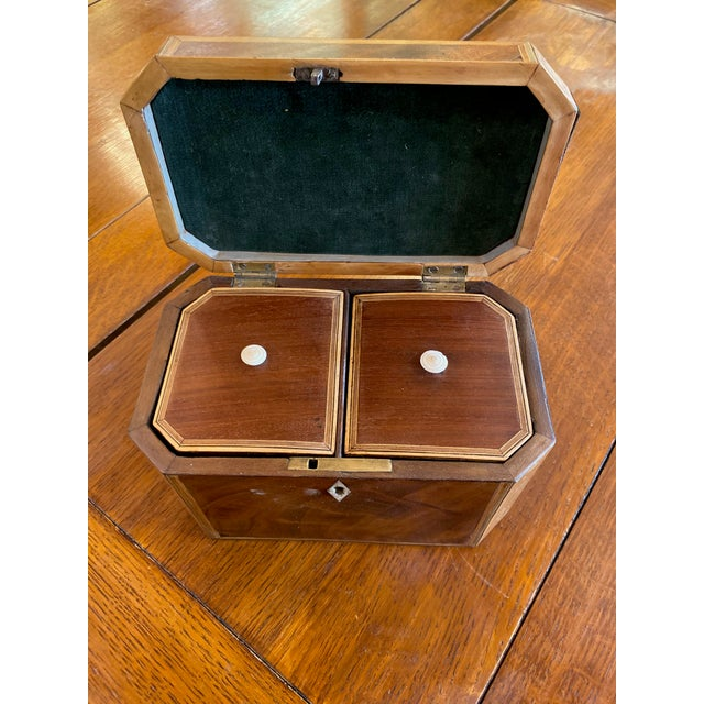 Traditional 19th Century Antique Octagonal Wooden Tea Caddy For Sale - Image 3 of 9