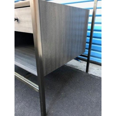 Contemporary Michael Weiss Grey and Glass Nightstands - a Pair For Sale - Image 3 of 11
