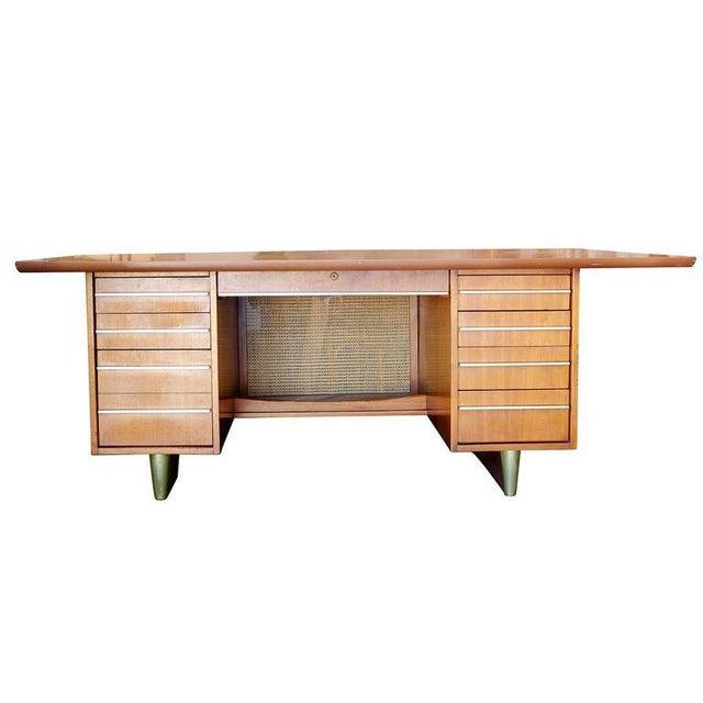 Mid-Century Mahogany Executive Desk With Brass Pulls - Image 2 of 10