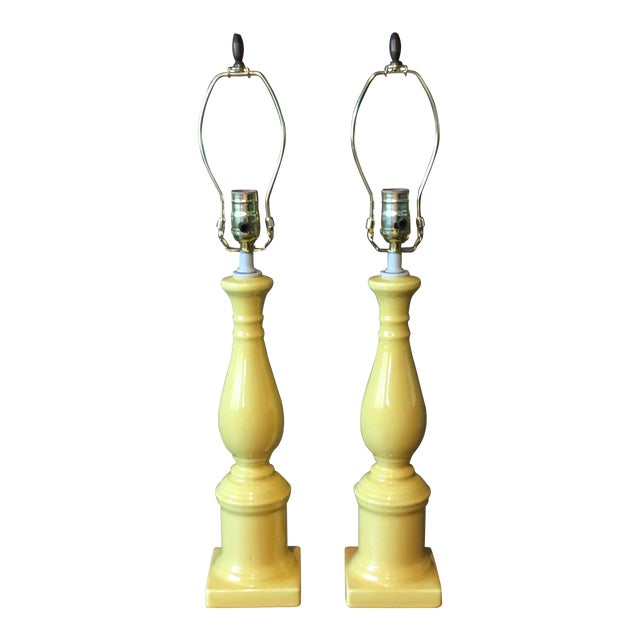 Vintage Yellow Table Lamps - A Pair For Sale
