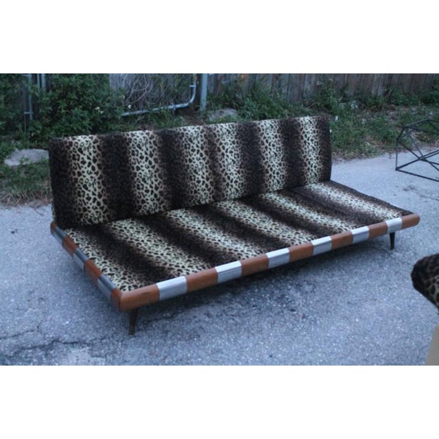 Adrian Pearsall for Craft Associates Chrome Walnut Wood Sofa Couch For Sale In West Palm - Image 6 of 12