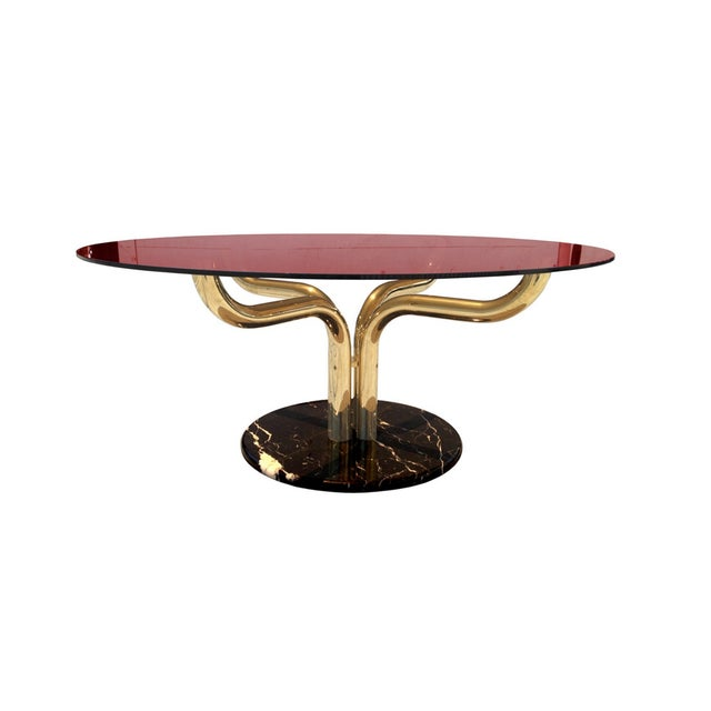 1960s Unique Brass-Marble and Glass Italian Dining Table For Sale - Image 5 of 5
