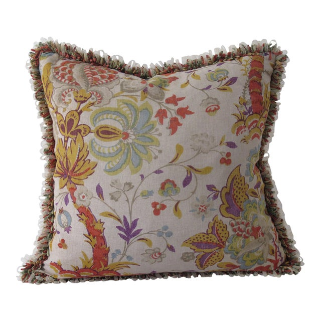 Vintage Printed Linen Pillow For Sale