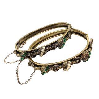 Victorian Revival Hinged Jeweled Bangles, Set of Two, C1940s For Sale