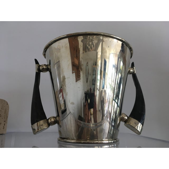 Silver Plate Wine Cooler Ice Bucket With Horn Handles For Sale - Image 11 of 13