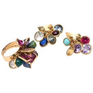 Set of Vintage Dangler Cluster Jewel Colored Glass Stone Earrings and Ring Set For Sale