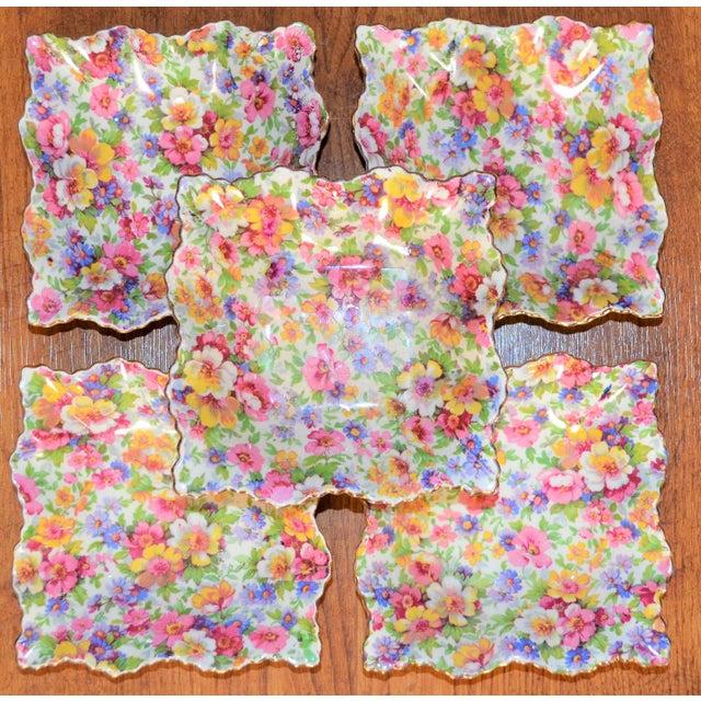 Boho Chic Vintage James Kent DuBarry Square Floral Chinitz Plates - Set of 5 For Sale - Image 3 of 11