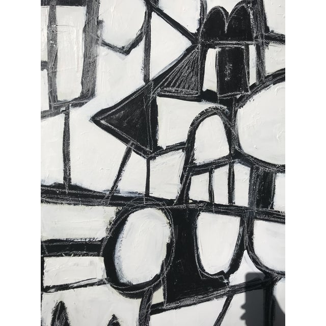 """Paint Sarah Trundle, Contemporary Abstract Black and White Painting, """"Much Ado"""" For Sale - Image 7 of 8"""